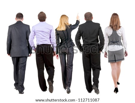 back view of walking business team.  business people going. woman pointing in distance. Rear view people collection. backside view of person. Isolated over white background. - stock photo