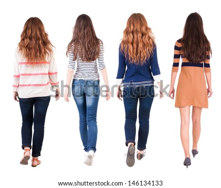 Back view of walking group of woman. Rear view people collection.  backside view of person.  Isolated over white background. - stock photo