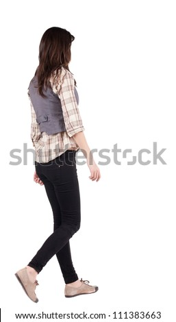 back view of walking woman . going brunette girl in motion. Rear view people collection.  backside view of person. Isolated over white background. - stock photo