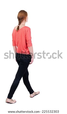 back view of walking  woman in jeans. beautiful blonde girl in motion.  backside view of person.  Rear view people collection. Isolated over white background. - stock photo