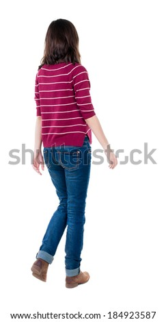 back view of walking  woman in red sweater. beautiful brunette girl in motion.  backside view of person.  Rear view people collection. Isolated over white background. - stock photo