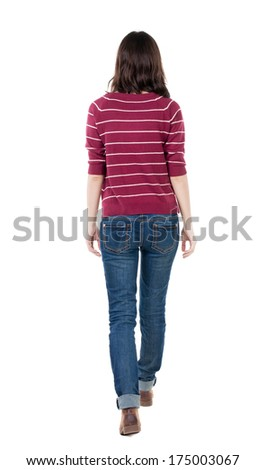 back view of walking  woman in striped sweater. beautiful brunette girl in motion.  backside view of person.  Rear view people collection. Isolated over white background. - stock photo