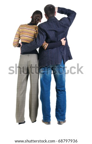Back view of watching young couple. Rear view. Isolated over white. - stock photo