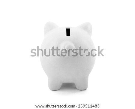 Back view of white piggy bank with clipping path - stock photo