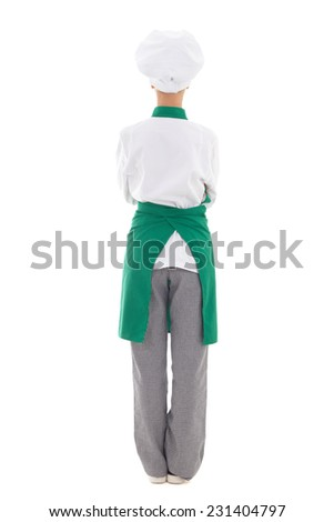 back view of woman in chef uniform - full length isolated on white background - stock photo