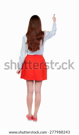 Back view of  woman thumbs up. Rear view people collection. backside view of person. Isolated over white background.  thin blonde raised her hand with joy. - stock photo