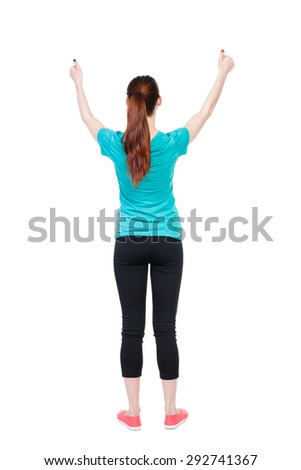 Back view of  woman thumbs up. Rear view people collection. backside view of person. Isolated over white background. Sport girl shows two hands thumbs up. - stock photo