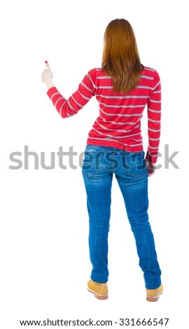 Back view of  woman thumbs up. Rear view people collection. backside view of person. Isolated over white background. The girl in a red striped sweater with long sleeves showing thumb up. - stock photo
