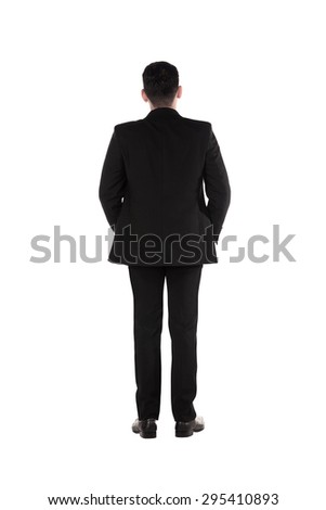 Back view of young business man. Isolated on white background - stock photo