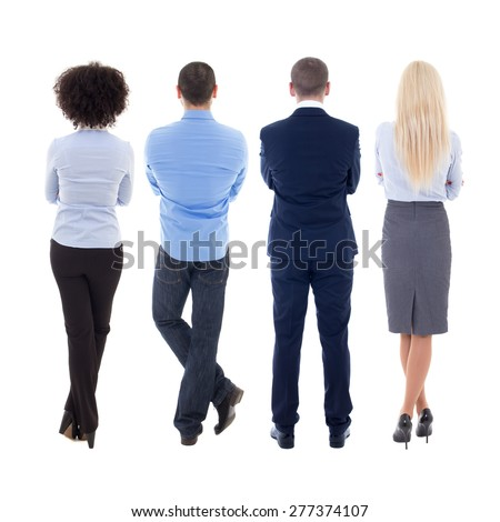 back view of young business people isolated on white background - stock photo