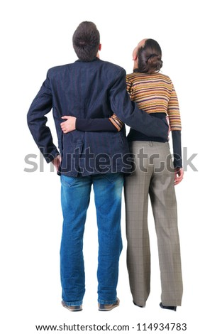 back view of  Young couple looks .  Rear view people collection.  backside view of person.  Isolated over white background. - stock photo