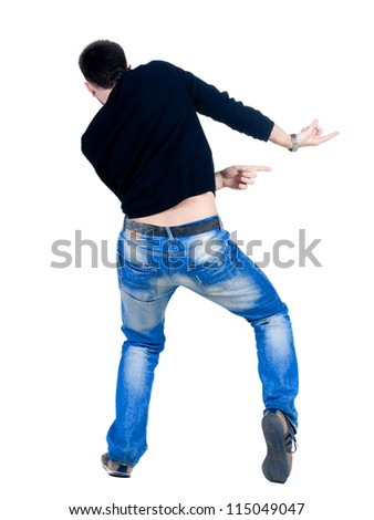 Back view of young man dancing. Rear view. Isolated over white. - stock photo
