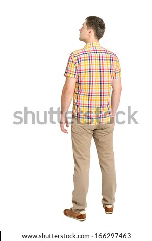 Back view of young man in a plaid shirt and jeans looking. Standing young guy. Rear view people collection. backside view of person. Isolated over white background. - stock photo