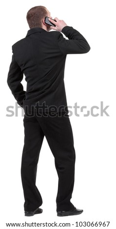 back  view people collection. Rear view of business man in black suit  talking on mobile phone.  Isolated over white background. backside view of person. - stock photo