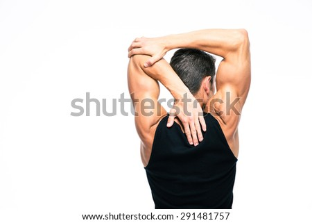 Back view portrait of a muscular man stretching hands isolated on a white background - stock photo