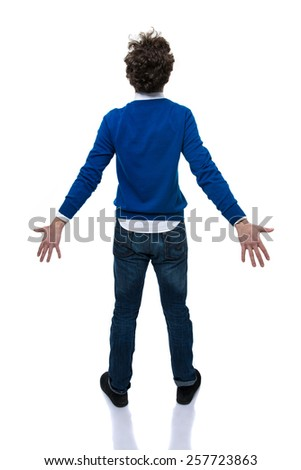 Back view portrait of a young man over white background - stock photo