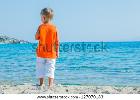 Back view portrait of cute boy at tropical beach - stock photo
