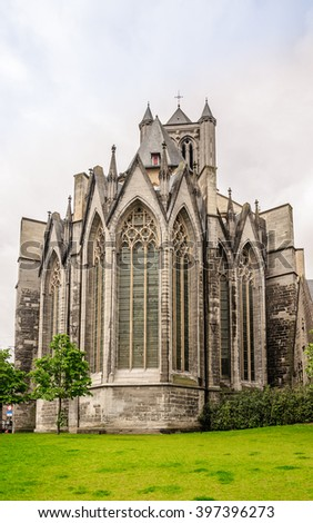 Back view to the square and park near the of St. Bavo Cathedral in the historic part of Ghent - the largest city of the East Flanders province, Ghent (Gent), Belgium - stock photo
