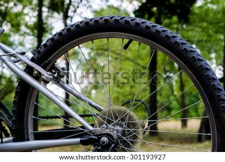 Back wheel of sports mountain bike on nature background - stock photo
