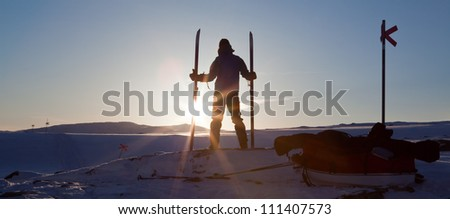 Backcountry at Sunset in Lapland - stock photo