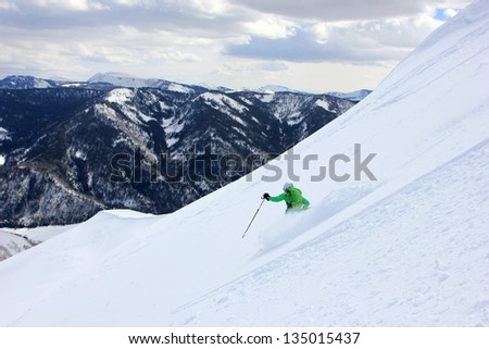 Backcountry skiing in the Utah mountains, USA. - stock photo