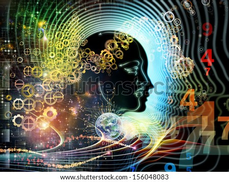 Backdrop composed of human feature lines and symbolic elements and suitable for use in the projects on human mind, consciousness, imagination, science and creativity - stock photo
