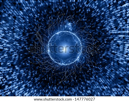 Backdrop composed of numeric texture and abstract network on the subject of technology and computing - stock photo