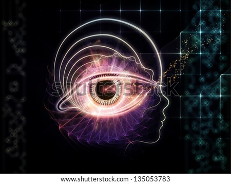Backdrop composed of outline of human head and symbolic elements and suitable for use in the projects on knowledge, science, technology and education - stock photo
