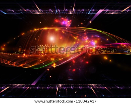 Backdrop of  abstract sine waves and design elements to complement your design on the subject of modern computing, virtual reality and signal processing - stock photo