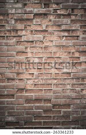 Backdrop of an old and weathered brick wall. This vertical empty surface is perfect as copy space or textured background.  - stock photo