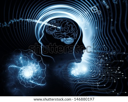 Backdrop of  human feature lines and symbolic elements to complement your design on the subject of human mind, consciousness, imagination, science and creativity - stock photo