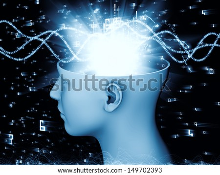 Backdrop of  human head and symbolic elements to complement your design on the subject of human mind, consciousness, imagination, science and creativity - stock photo
