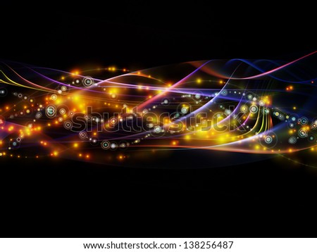 Backdrop of lights, fractal and custom design elements on the subject of network, technology and motion - stock photo