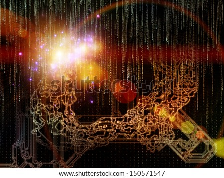 Backdrop of  numbers and space division elements to complement your design on the subject of geometry, mathematics, science and technology - stock photo