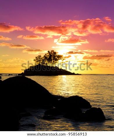 Backdrop Rocks Seascape - stock photo