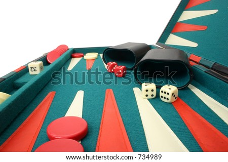 Backgammon Over White - stock photo