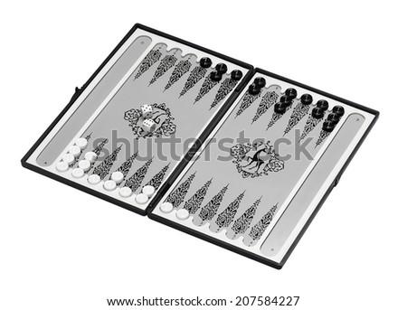 backgammon set isolated on white background - stock photo