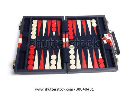 Backgammon Set on White Background - stock photo