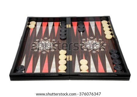 backgammon wooden tavli board game from greece - stock photo