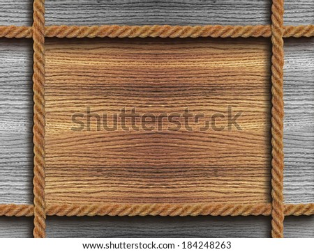 Background a wooden frame with four ropes - stock photo