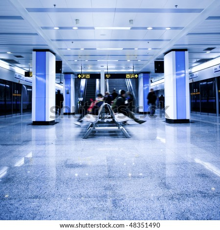 background about interior of the subway station in shanghai china. - stock photo