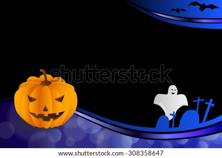 Background abstract blue black Halloween orange pumpkin bat ghost frame illustration  - stock photo
