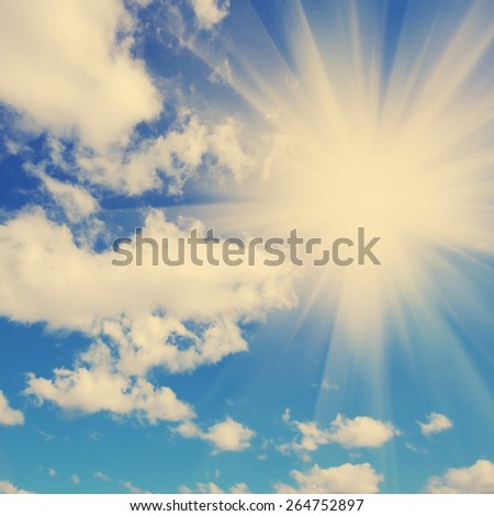 Background abstract: blue sky and clouds.  Instagram style filtred image - stock photo
