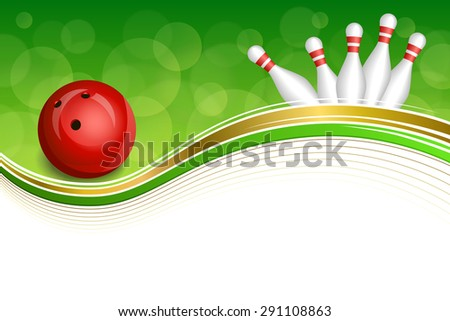 Background abstract green bowling red ball gold frame illustration  - stock photo