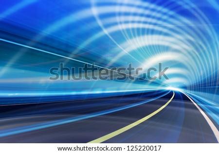 Background abstract technology illustration.  Light speed motion, fiber optics, futuristic colorful design. - stock photo