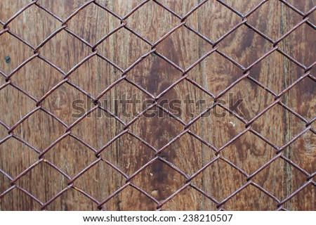 background and texture wood behind net. - stock photo