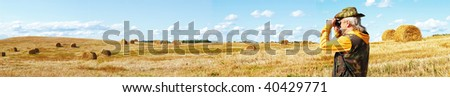 Background as a panorama of rural landscape - stock photo