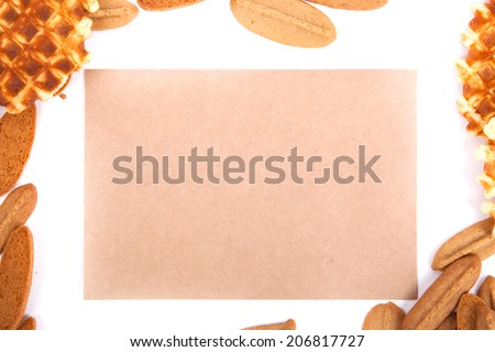 background biscuits, waffles, fruit jelly isolated on white background with space for text on the envelope - stock photo