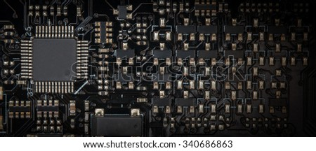 Background black board computer including the CPU, chip-set, consumer electronics. - stock photo