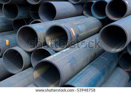 Background, blue metal  tubes - stock photo